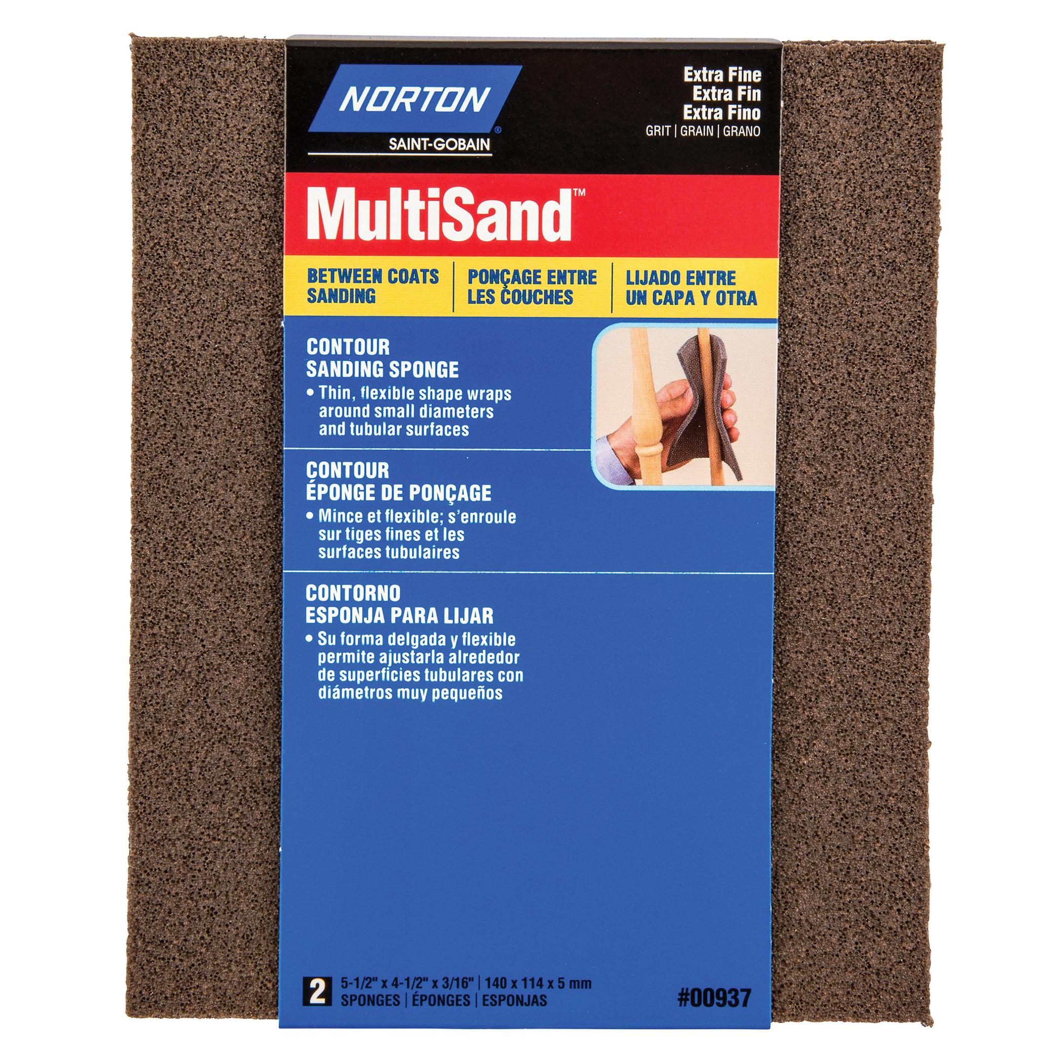 Norton® MultiSand™ 07660700937 Contour Sanding Sponge, 5-1/2 in L x 4-1/2 in W x 3/16 in THK, Extra Fine Grade