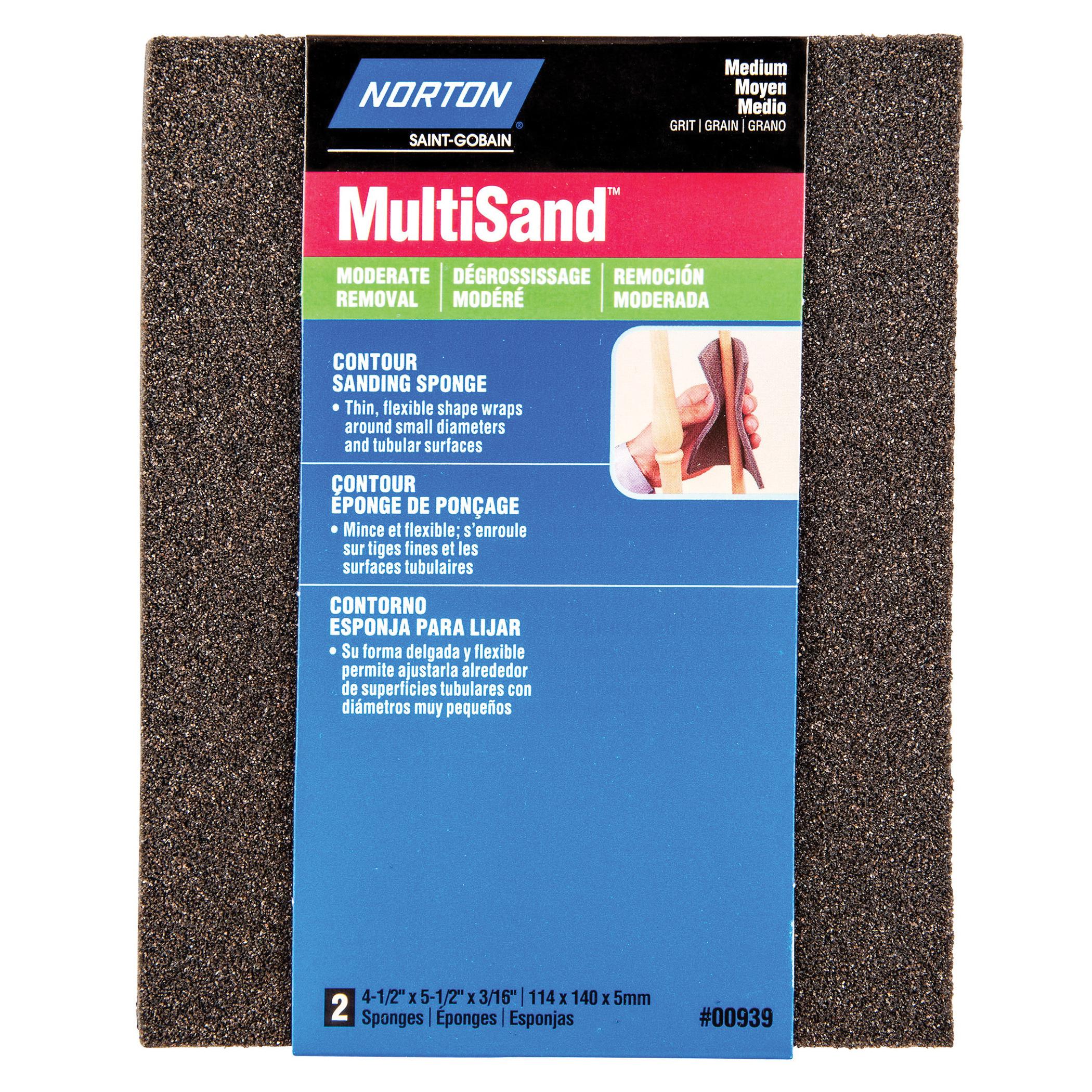 Norton® MultiSand™ 07660700939 Contour Sanding Sponge, 5-1/2 in L x 4-1/2 in W x 3/16 in THK, 100 Grit, Medium Grade