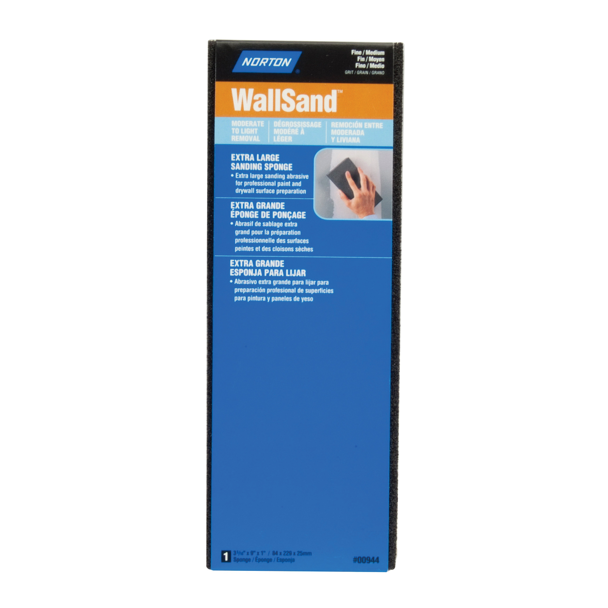 Norton® WallSand™ 07660700944 Extra Large Area Sanding Sponge, 9 in L x 3-5/16 in W x 1 in THK, 80/120 Grit, Fine/Medium Grade