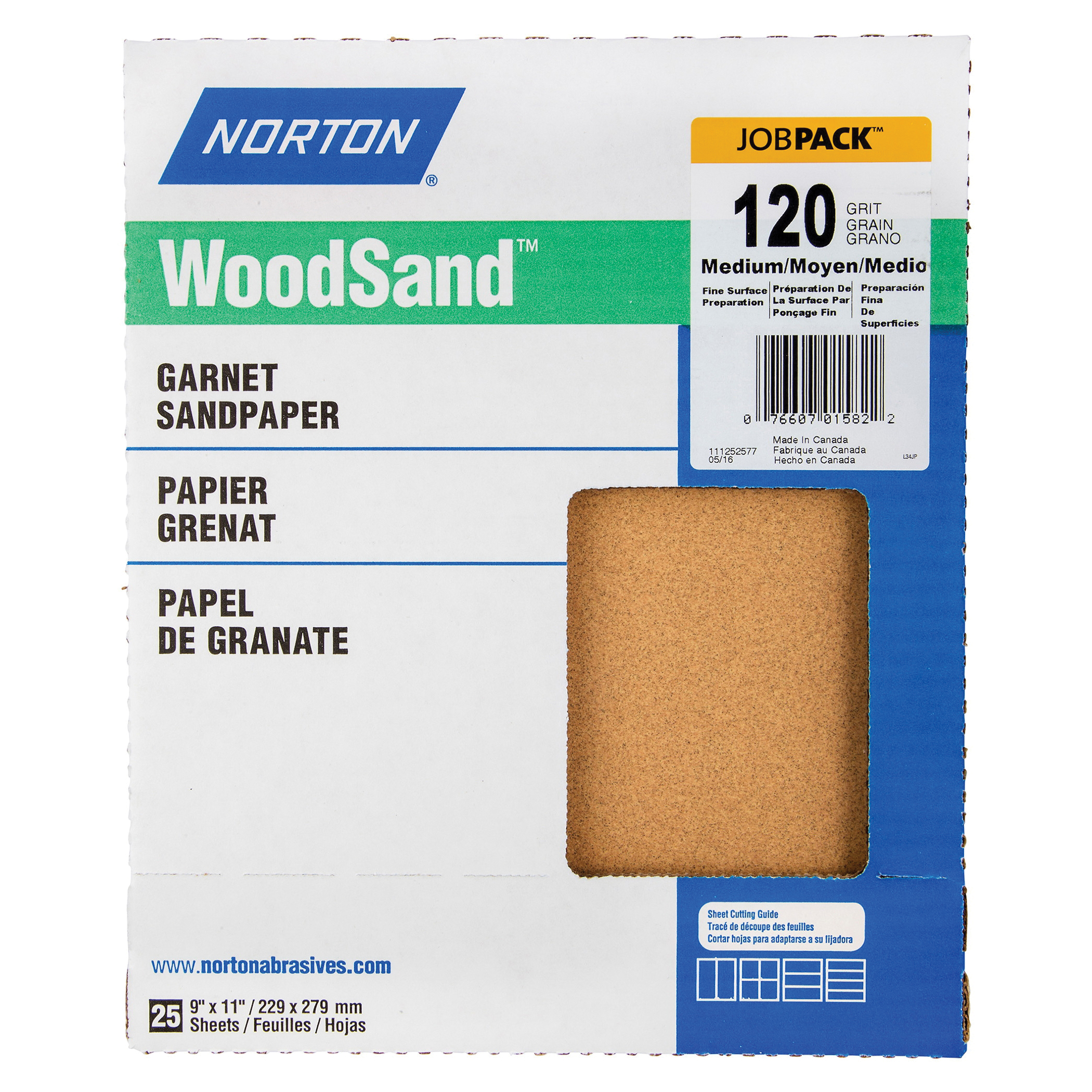 Norton® WoodSand™ Job Pack™ 07660701582 A513 Coated Sandpaper Sheet, 11 in L x 9 in W, 120 Grit, Medium Grade, Garnet Abrasive, Paper Backing