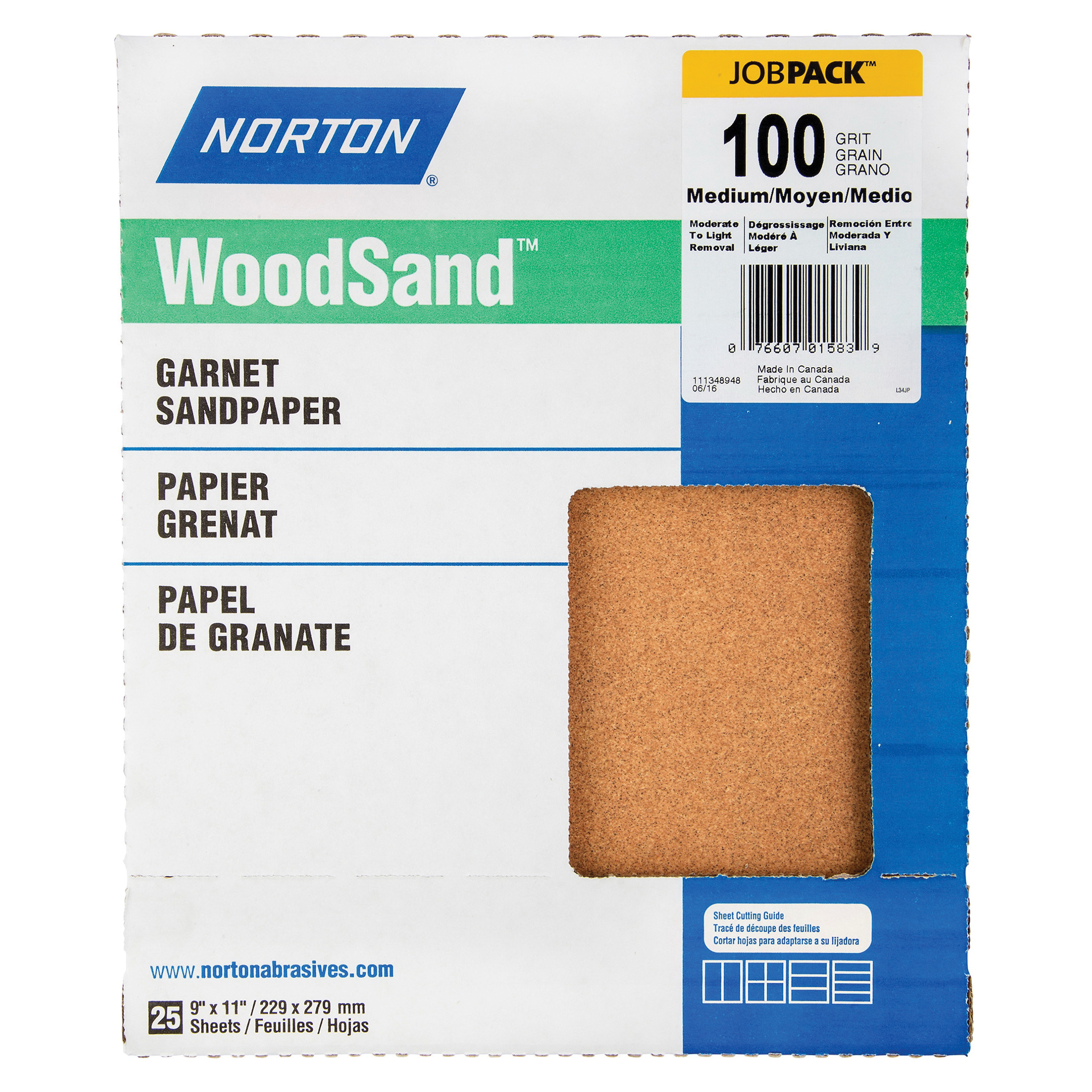 Norton® WoodSand™ Job Pack™ 07660701583 A513 Coated Sandpaper Sheet, 11 in L x 9 in W, 100 Grit, Medium Grade, Garnet Abrasive, Paper Backing