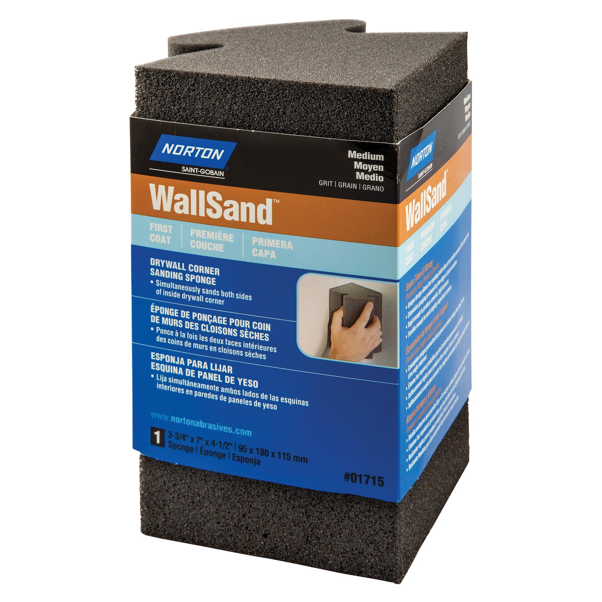 Norton® WallSand™ 07660701715 Corner Sanding Sponge, 7 in L x 3-3/4 in W x 4-1/2 in THK, 80 Grit, Medium Grade