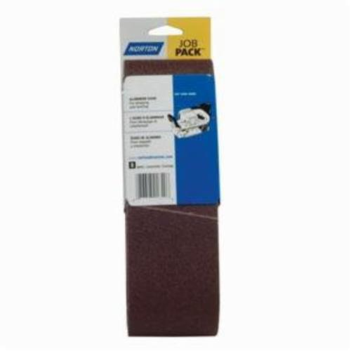 Norton® Metalite® 07660702062 R255 Portable Coated Abrasive Belt, 3 in W x 21 in L, 120 Grit, Medium Grade, Aluminum Oxide Abrasive, Cotton Backing