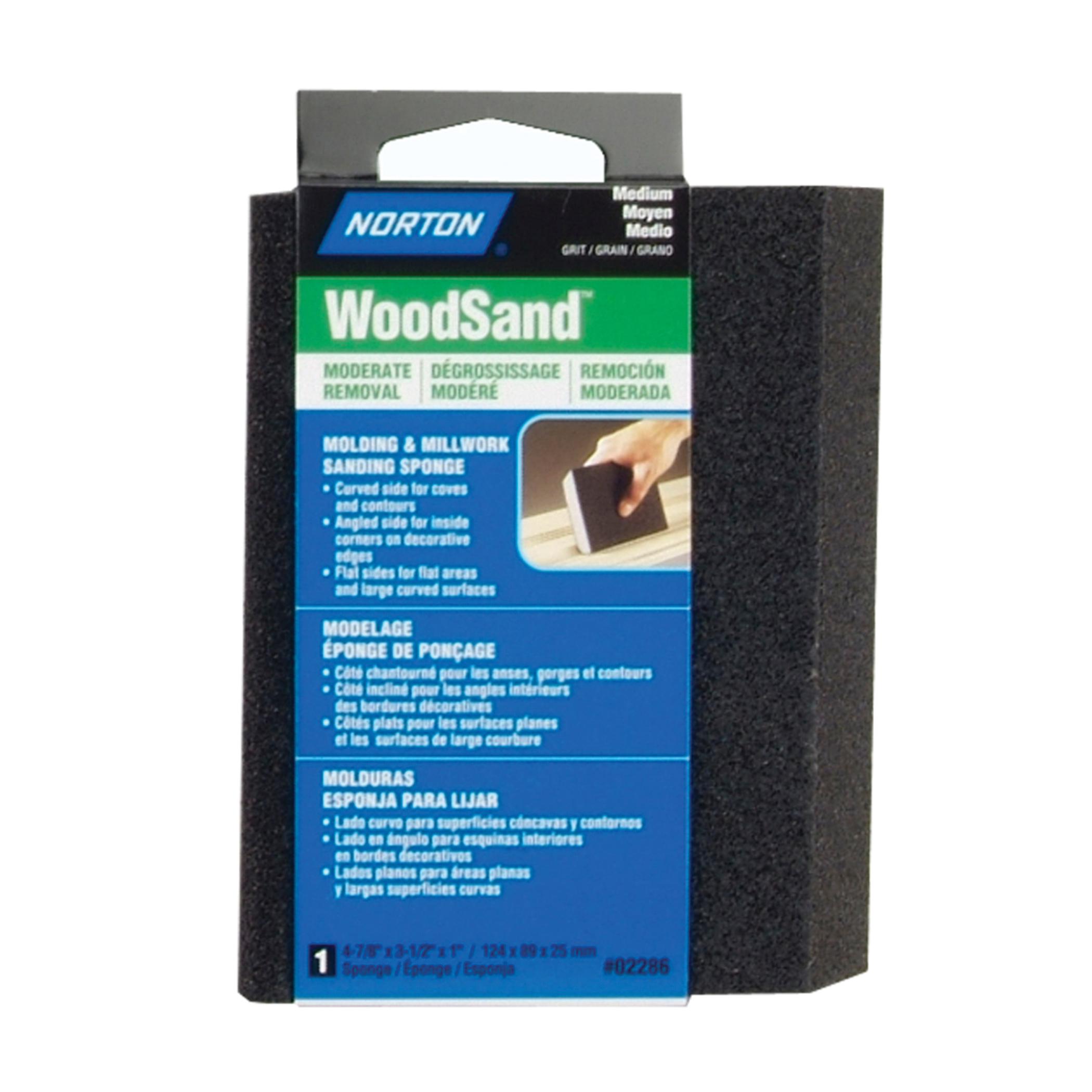 Norton® WoodSand™ 07660702286 Angled Sanding Sponge, 4-7/8 in L x 3-1/2 in W x 1 in THK, 80 Grit, Medium Grade