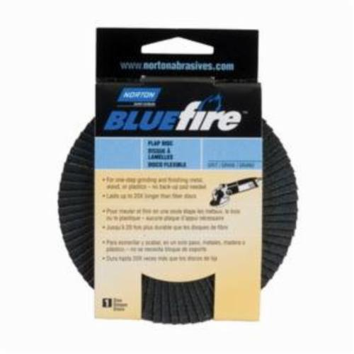 Norton® BlueFire® 20X™ 07660703211 R884P Arbor Thread High Performance Standard Density Coated Abrasive Flap Disc, 4-1/2 in Dia, P40 Grit, Extra Coarse Grade, Zirconia Alumina Plus Abrasive, Type 29 Disc