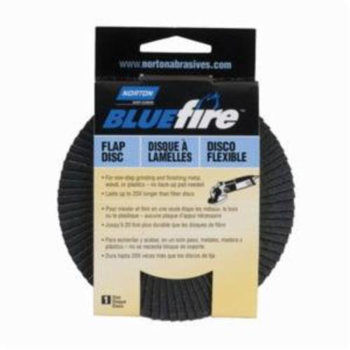 Norton® BlueFire® 20X™ 07660703216 R884P Arbor Thread High Performance Standard Density Coated Abrasive Flap Disc, 4 in Dia, P80 Grit, Coarse Grade, Zirconia Alumina Plus Abrasive, Type 29 Disc