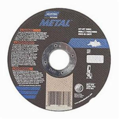 Norton® Metal® 66252843848 Small Diameter Cut-Off Wheel, 4 in Dia x 1/16 in THK, 3/8 in Center Hole, 36 Grit, Aluminum Oxide Abrasive