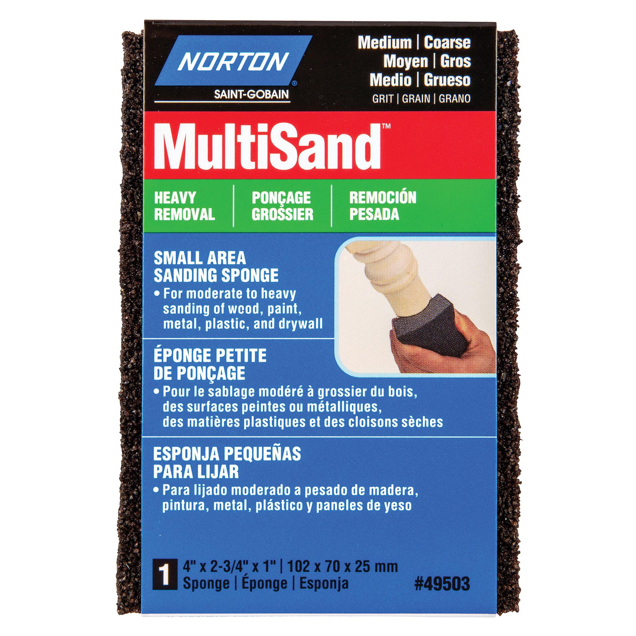 Norton® MultiSand™ 07660749503 Small Area Sanding Sponge, 2-3/4 in L x 4 in W x 1 in THK, 36/80 Grit, Coarse/Medium Grade