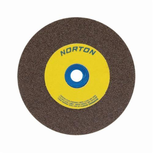Norton® Gemini® 66253161393 57A Alundum® Straight Bench and Pedestal Grinding Wheel, 10 in Dia x 1-1/2 in THK, 1-1/4 in Center Hole, 36/46 Grit, Aluminum Oxide Abrasive