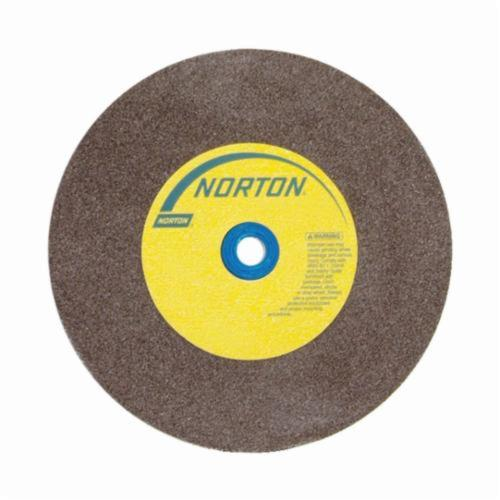 Norton® Gemini® 07660788277 57A Alundum® Straight Bench and Pedestal Grinding Wheel, 8 in Dia x 3/4 in THK, 1 in Center Hole, 60/80 Grit, Aluminum Oxide Abrasive