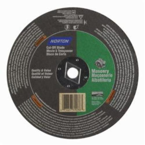 Norton® Masonry 07660789086 CO818Ma Type 01 Reinforced Straight Cut-Off Wheel, 8 in Dia x 1/8 in THK, 5/8 in Center Hole, 24 Grit, Silicon Carbide Abrasive