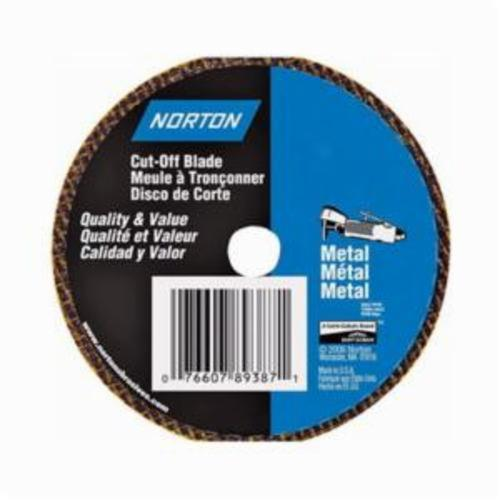 Norton® Metal® 07660789387 Small Diameter Cut-Off Wheel, 4 in Dia x 1/8 in THK, 3/8 in Center Hole, Aluminum Oxide Abrasive