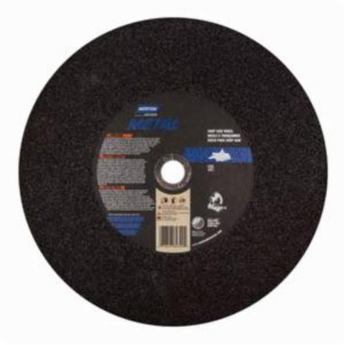 Norton® Metal® 07660789399 Type 01 All Purpose Reinforced Straight Cut-Off Wheel, 14 in Dia x 7/64 in THK, 1 in Center Hole, 36 Grit, Aluminum Oxide Abrasive