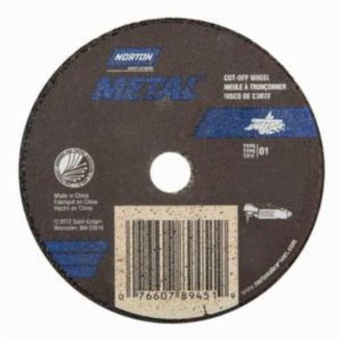 Norton® Metal® 07660789451 All Purpose Small Diameter Cut-Off Wheel, 3 in Dia x 0.035 in THK, 3/8 in Center Hole, 60 Grit, Aluminum Oxide Abrasive