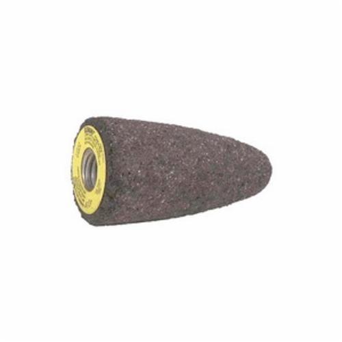 Norton® Gemini® 61463622190 57A24-R Portable Snagging Cone, 1-1/2 in Max Diameter, 3 in THK Head, 24 Grit, Coarse Grade, Aluminum Oxide Abrasive