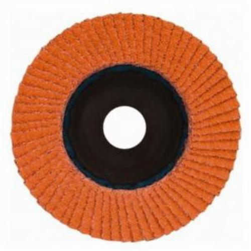 Norton® Blaze® 63642501866 R980P Center Mount Quick-Trim Standard Density Coated Abrasive Flap Disc, 7 in Dia, 7/8 in Center Hole, 36 Grit, Extra Coarse Grade, Ceramic Alumina Abrasive, Type 27/Flat Disc