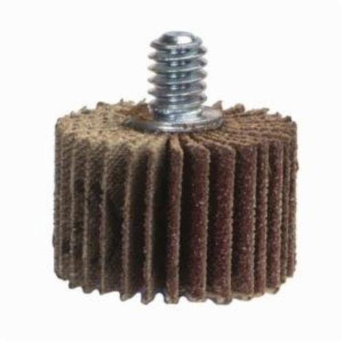 Norton® Metalite® 63642502659 R207 Mini Mounted Coated Flap Wheel, 3 in Dia, 1/2 in W Face, P80 Grit, Medium Grade, Aluminum Oxide Abrasive