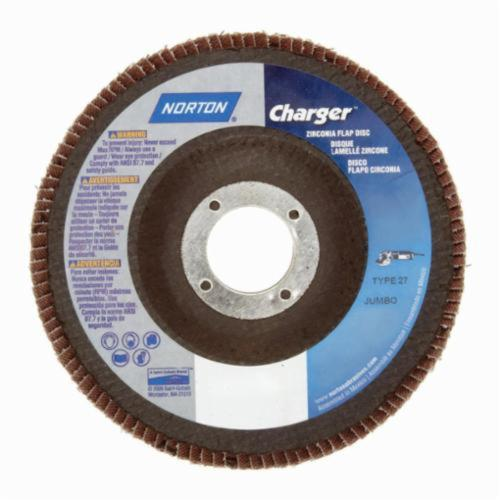 Norton® Charger™ 63642503512 R822 Arbor Thread Standard Density Versatile Coated Abrasive Flap Disc, 4-1/2 in Dia, P60 Grit, Coarse Grade, Zirconia Alumina Abrasive, Type 27/Flat Disc