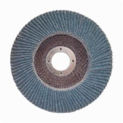 Norton® Charger™ 63642503532 R822 Center Mount Jumbo High Density Coated Abrasive Flap Disc, 4-1/2 in Dia, 7/8 in Center Hole, P60 Grit, Coarse Grade, Zirconia Alumina Abrasive, Type 27/Flat Disc