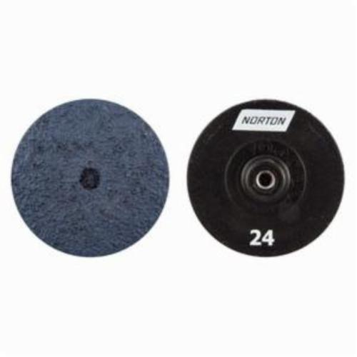 Norton® NorKut™ 63642503656 Coated Abrasive Quick-Change Disc, 3 in Dia, 24 Grit, Extra Coarse Grade, Zirconia Alumina Abrasive, Threaded Hole Attachment