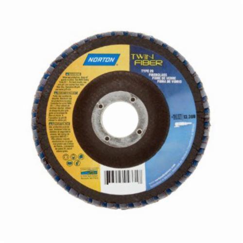 Norton® Red Heat® 63642504331 R961 Center Mount Coated Abrasive Flap Disc, 4-1/2 in Dia, 7/8 in Center Hole, P60 Grit, Coarse Grade, Ceramic Alumina/Zirconia Alumina Abrasive, Type 29/Conical Disc