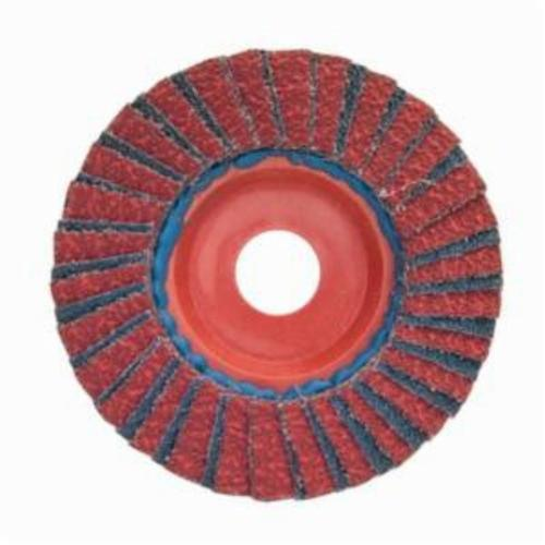 Norton® Red Heat® 63642504882 R961 Center Mount Quick-Trim Standard Density Coated Abrasive Flap Disc, 7 in Dia, 7/8 in Center Hole, P60 Grit, Coarse Grade, Ceramic Alumina/Zirconia Alumina Abrasive, Type 27/Flat Disc