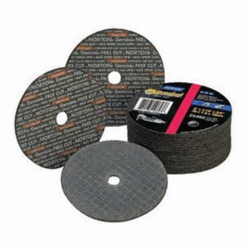Norton® Gemini® 66243411402 Fast Cut Small Diameter Cut-Off Wheel, 2 in Dia x 1/8 in THK, 1/4 in Center Hole, 36 Grit, Aluminum Oxide Abrasive