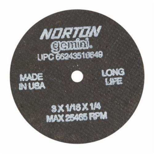 Norton® Gemini® 66243510649 Long Life Small Diameter Cut-Off Wheel, 3 in Dia x 1/16 in THK, 1/4 in Center Hole, 36 Grit, Aluminum Oxide Abrasive