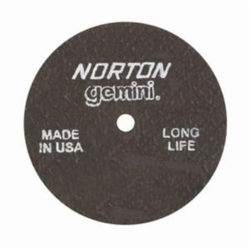 Norton® Gemini® 66243510652 CO31838GLL Long Life Small Diameter Cut-Off Wheel, 3 in Dia x 1/8 in THK, 1/4 in Center Hole, 36 Grit, Aluminum Oxide Abrasive