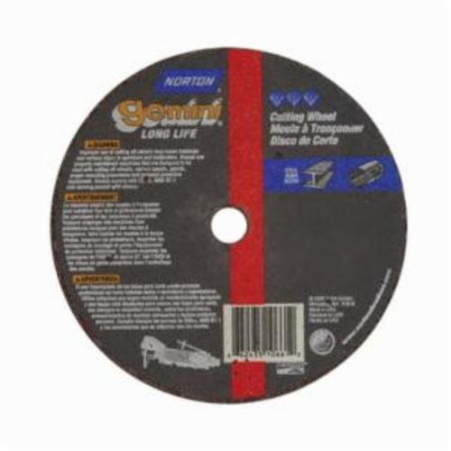 Norton® Gemini® 66243510661 CO41838GLL Long Life Small Diameter Cut-Off Wheel, 4 in Dia x 1/8 in THK, 3/8 in Center Hole, 36 Grit, Aluminum Oxide Abrasive