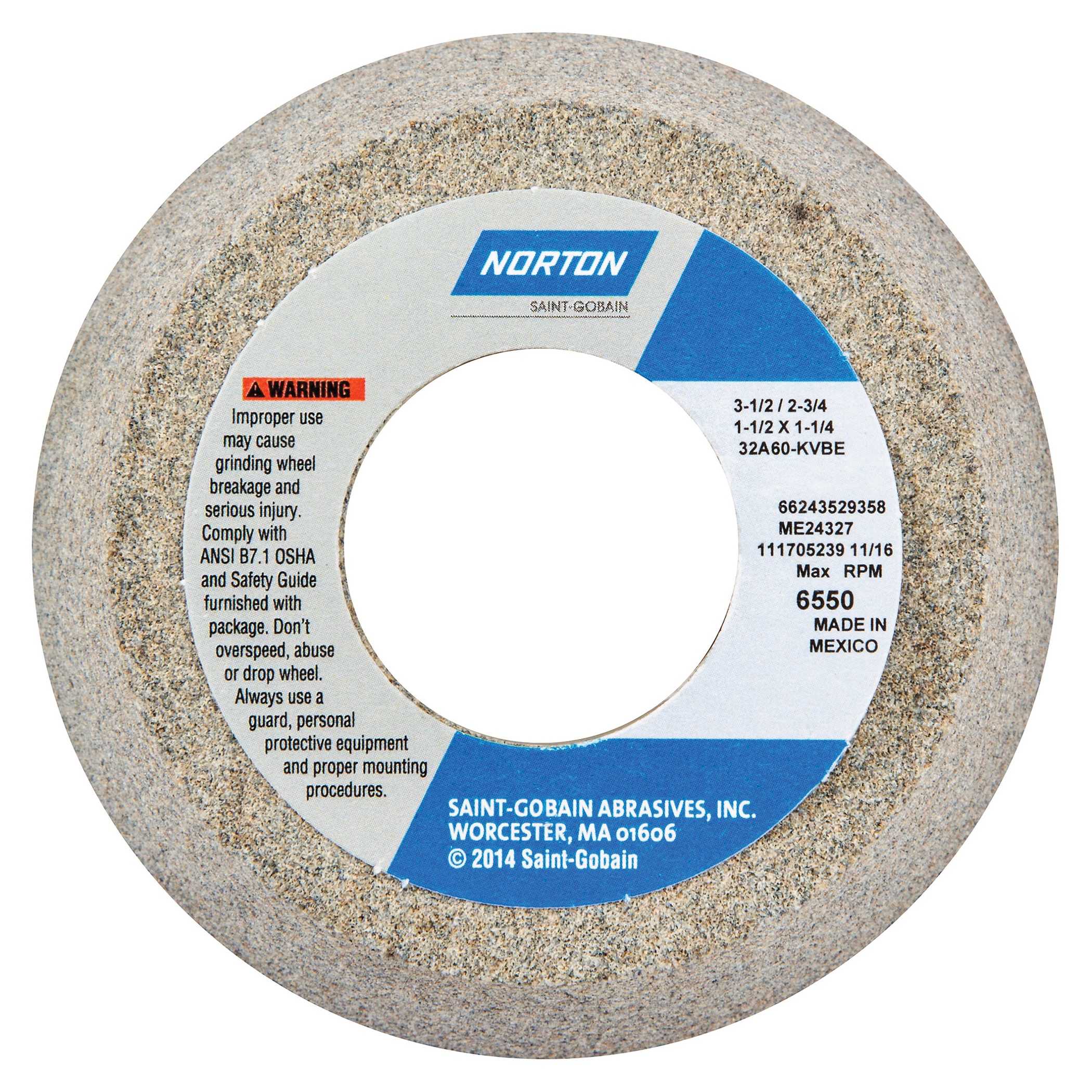 Norton® 66243529358 32A Toolroom Wheel, 3-1/2 in Dia x 1-1/2 in THK, 1-1/4 in Center Hole, 60 Grit, Aluminum Oxide Abrasive