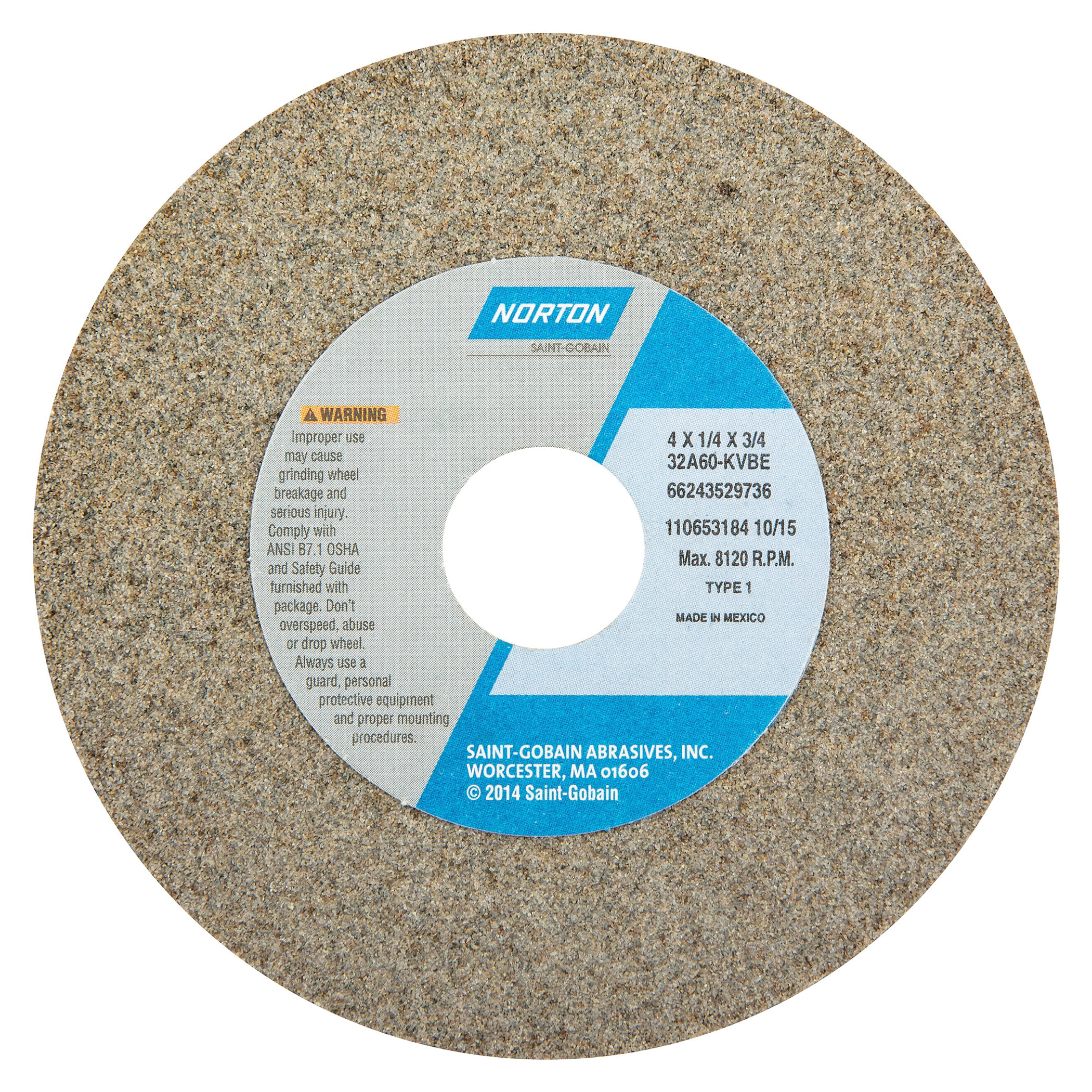 Norton® 66243529736 32A Straight Toolroom Wheel, 4 in Dia x 1/4 in THK, 3/4 in Center Hole, 60 Grit, Aluminum Oxide Abrasive