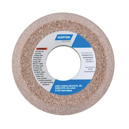 Norton® 66243529876 32AA Flaring Cup Toolroom Wheel, 4 in Dia x 1-1/2 in THK, 1-1/4 in Center Hole, 60 Grit, Aluminum Oxide Abrasive