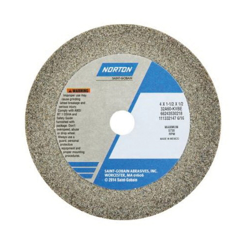 Norton® 66243530218 32A Straight Toolroom Wheel, 4 in Dia x 1-1/2 in THK, 1/2 in Center Hole, 60 Grit, Aluminum Oxide Abrasive