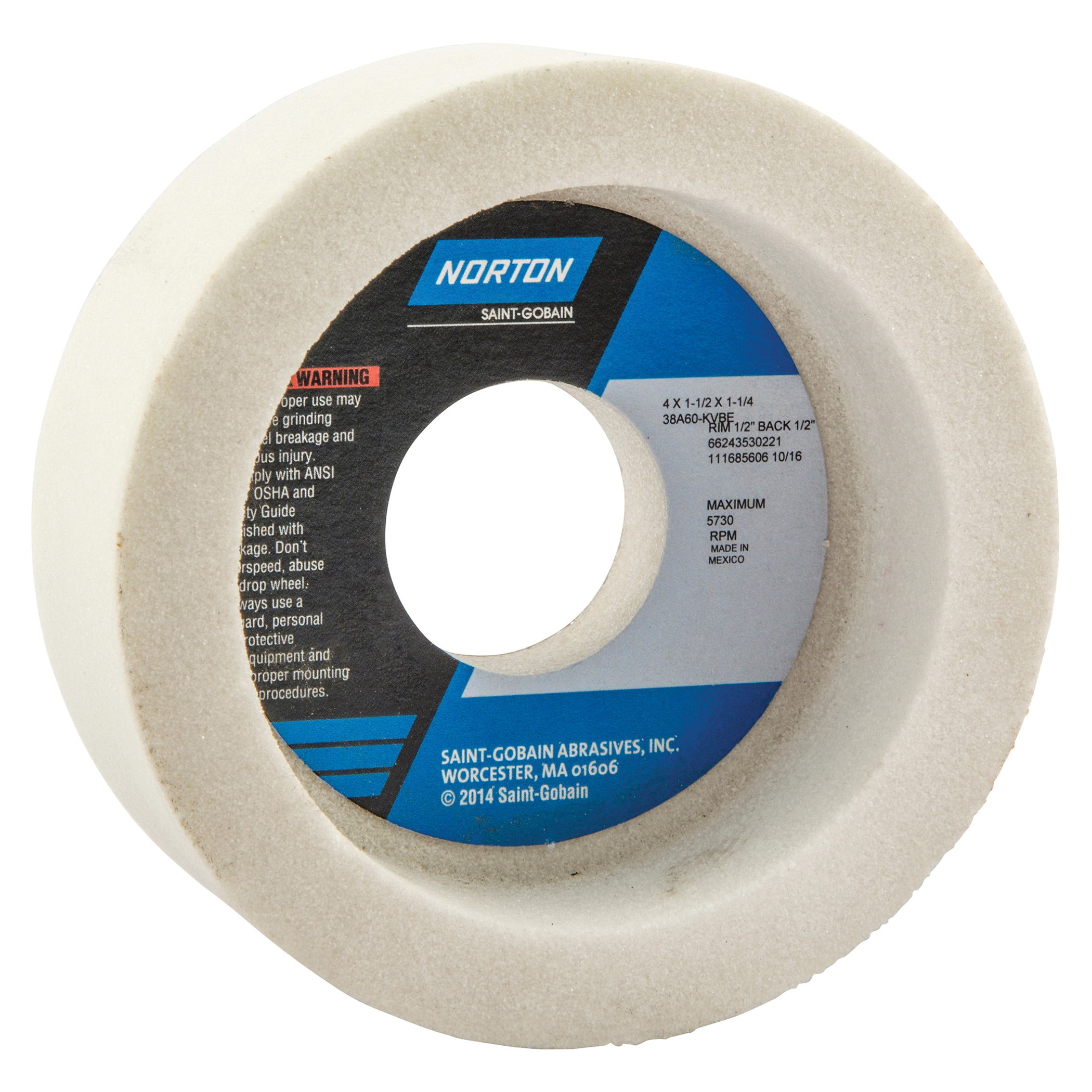 Norton® 66243530221 38A Toolroom Wheel, 4 in Dia x 1-1/2 in THK, 1-1/4 in Center Hole, 60 Grit, Aluminum Oxide Abrasive