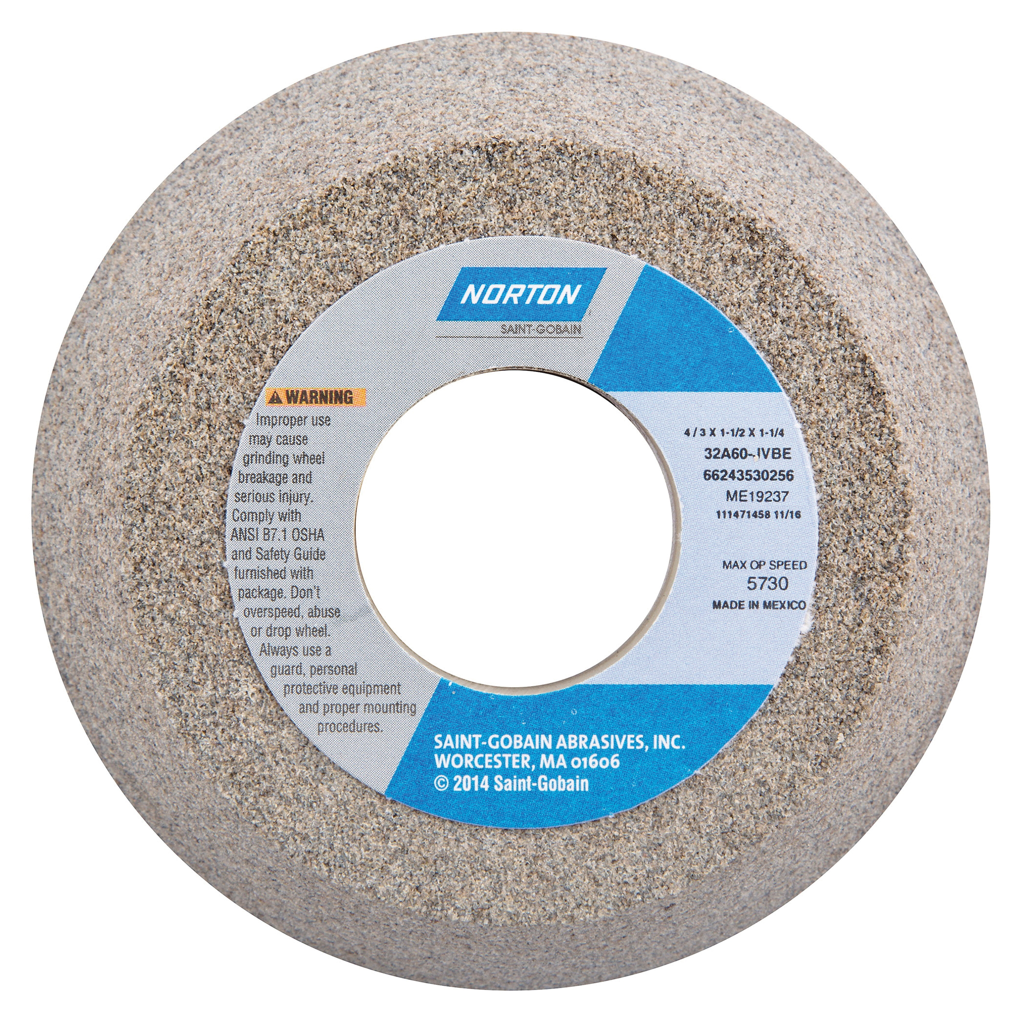 Norton® 66243530256 32A Toolroom Wheel, 4 in Dia x 1-1/2 in THK, 1-1/4 in Center Hole, 60 Grit, Aluminum Oxide Abrasive