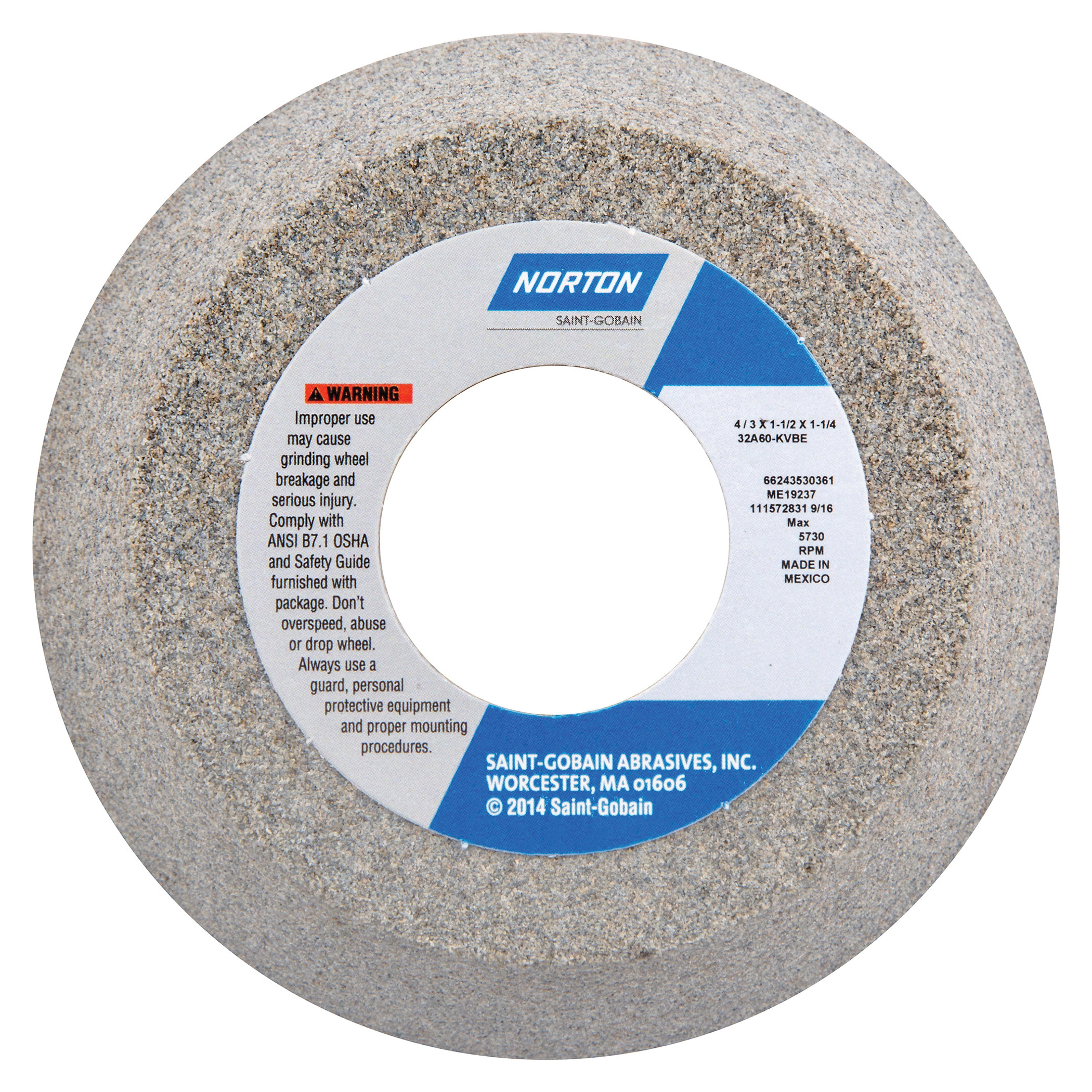 Norton® 66243530361 32A Toolroom Wheel, 4 in Dia x 1-1/2 in THK, 1-1/4 in Center Hole, 60 Grit, Aluminum Oxide Abrasive