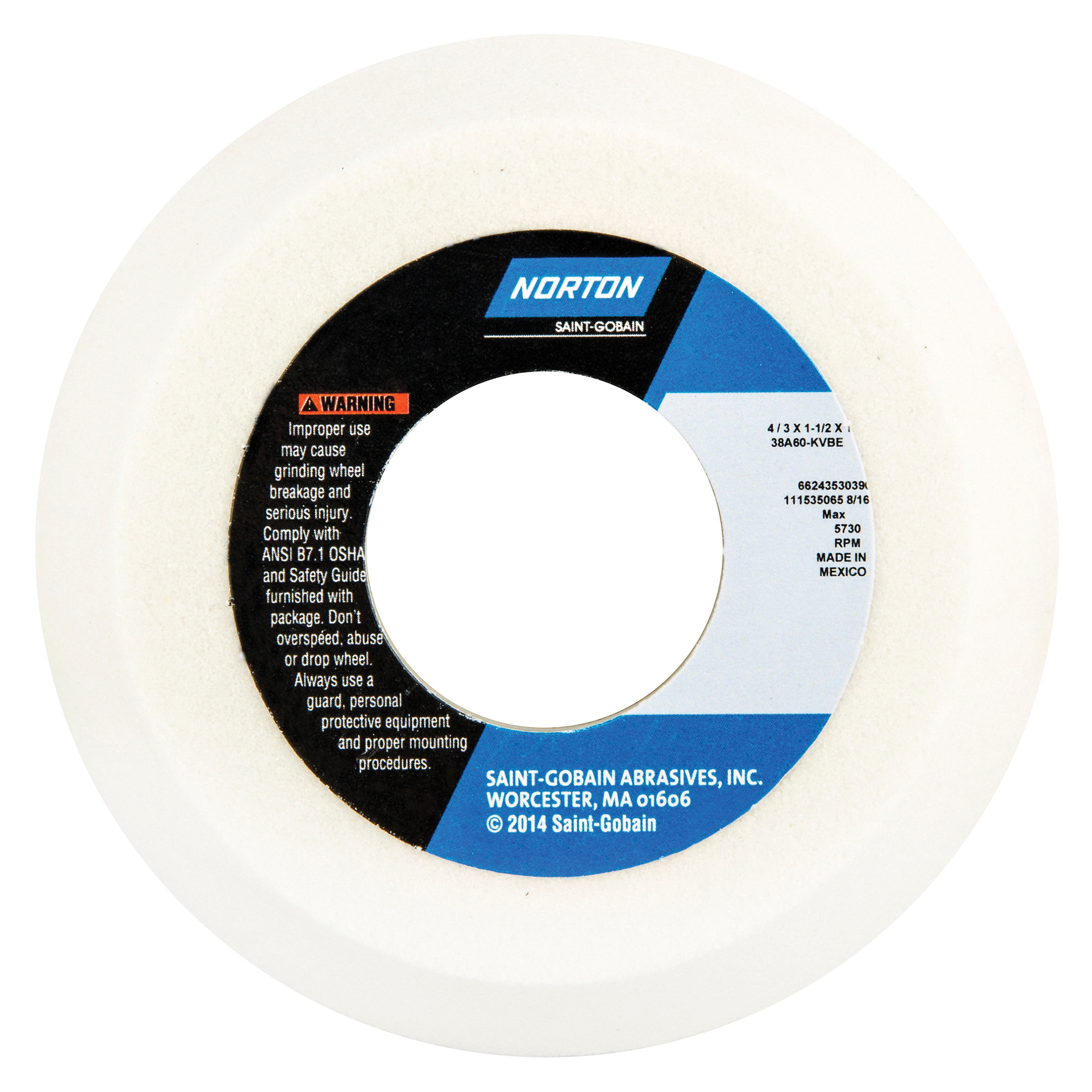 Norton® 66243530390 38A Toolroom Wheel, 4 in Dia x 1-1/2 in THK, 1-1/4 in Center Hole, 60 Grit, Aluminum Oxide Abrasive