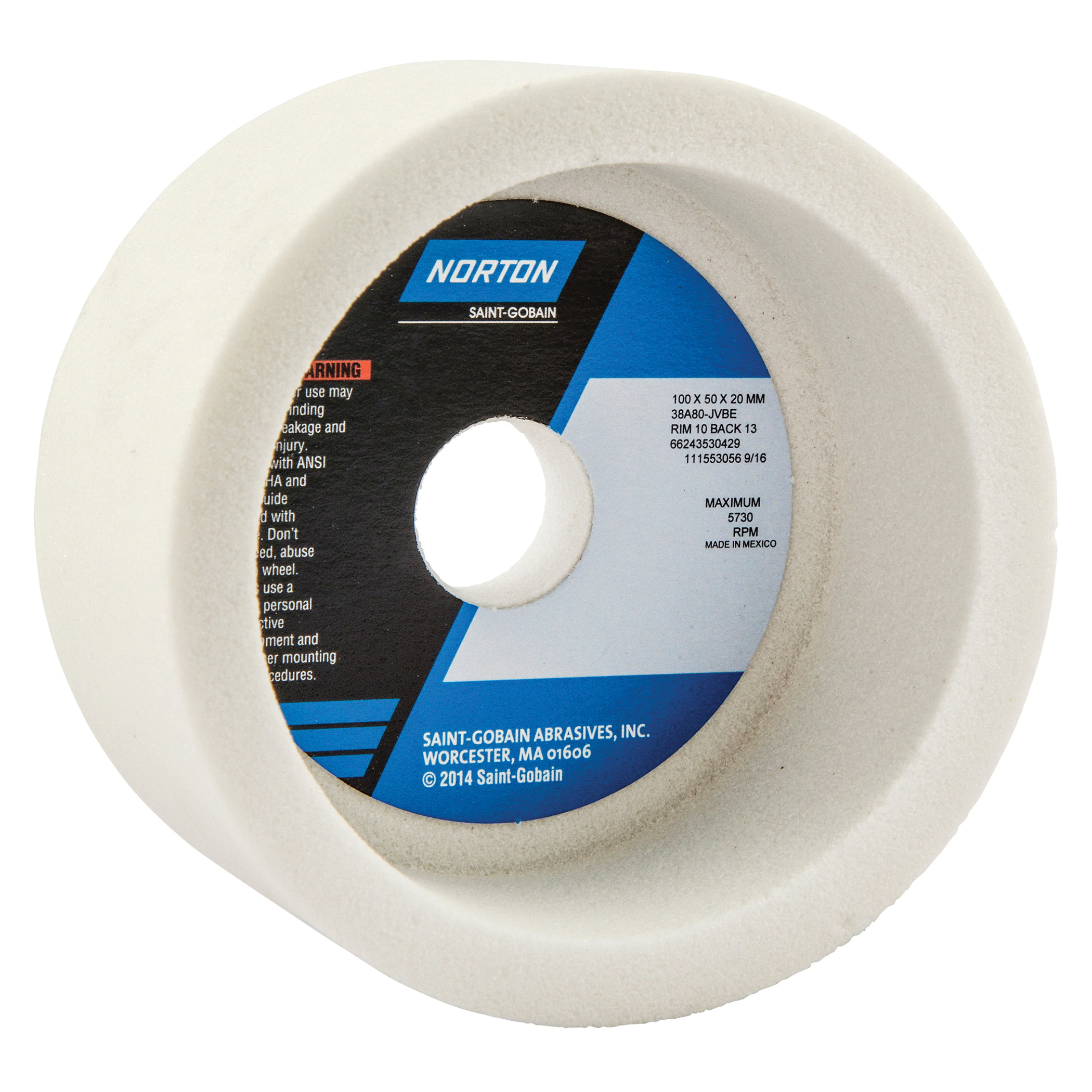Norton® 66243530429 38A Toolroom Wheel, 100 mm Dia x 50 mm THK, 20 mm Center Hole, 80 Grit, Aluminum Oxide Abrasive