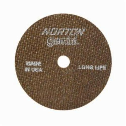 Norton® Gemini® 66243537271 CO303538GLL Long Life Small Diameter Cut-Off Wheel, 3 in Dia x 0.035 in THK, 3/8 in Center Hole, 60 Grit, Aluminum Oxide Abrasive