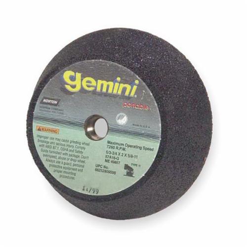 Norton® Gemini® 66252809608 57AC Flaring Snagging Wheel, 6 x 4-3/4 in Dia Max, 2 in THK, Flaring Cup Shape