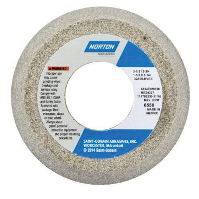Norton® 66252830539 32A Toolroom Wheel, 4-1/2 in Dia x 2 in THK, 1-1/4 in Center Hole, 46 Grit, Aluminum Oxide Abrasive