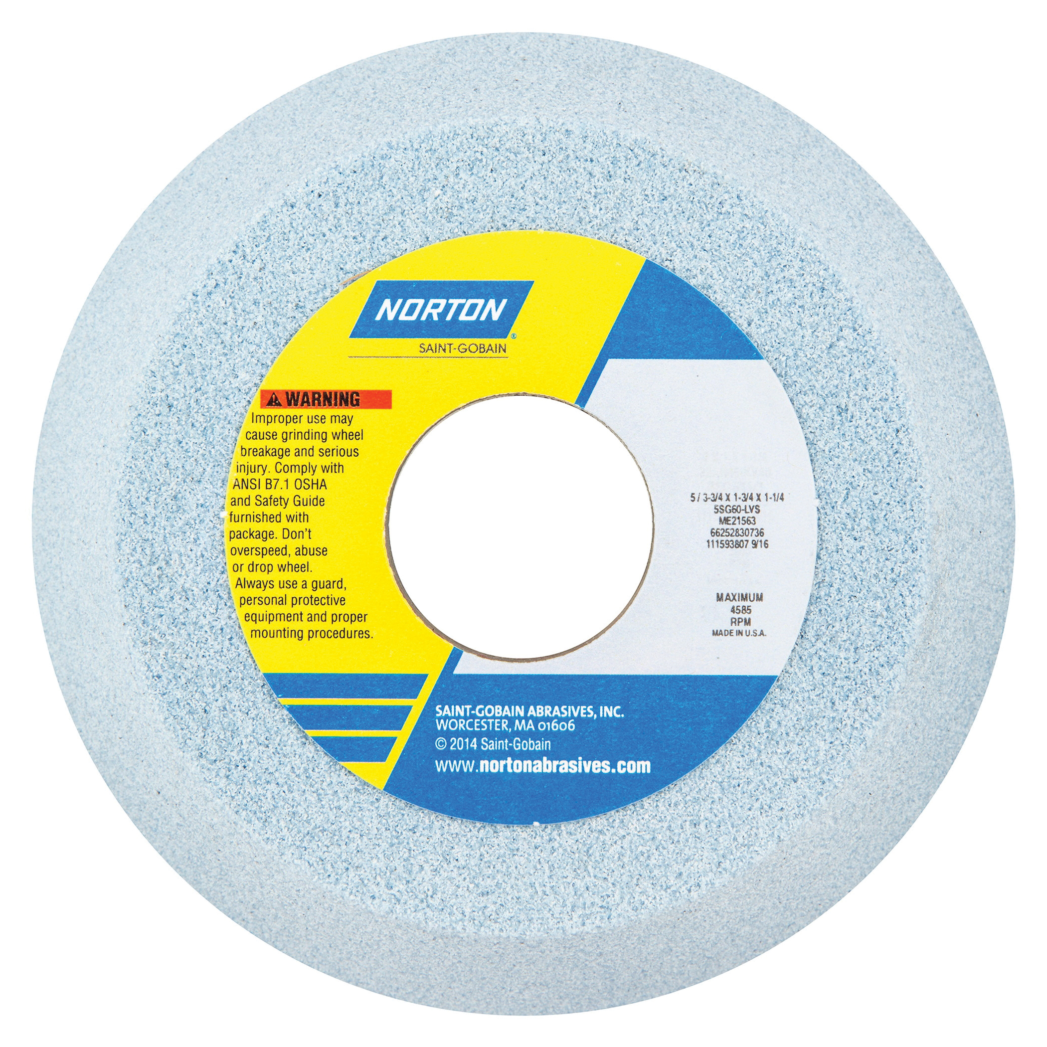 Norton® 66252830736 5SG Toolroom Wheel, 5 in Dia x 1-3/4 in THK, 1-1/4 in Center Hole, 60 Grit, Ceramic Alumina Abrasive