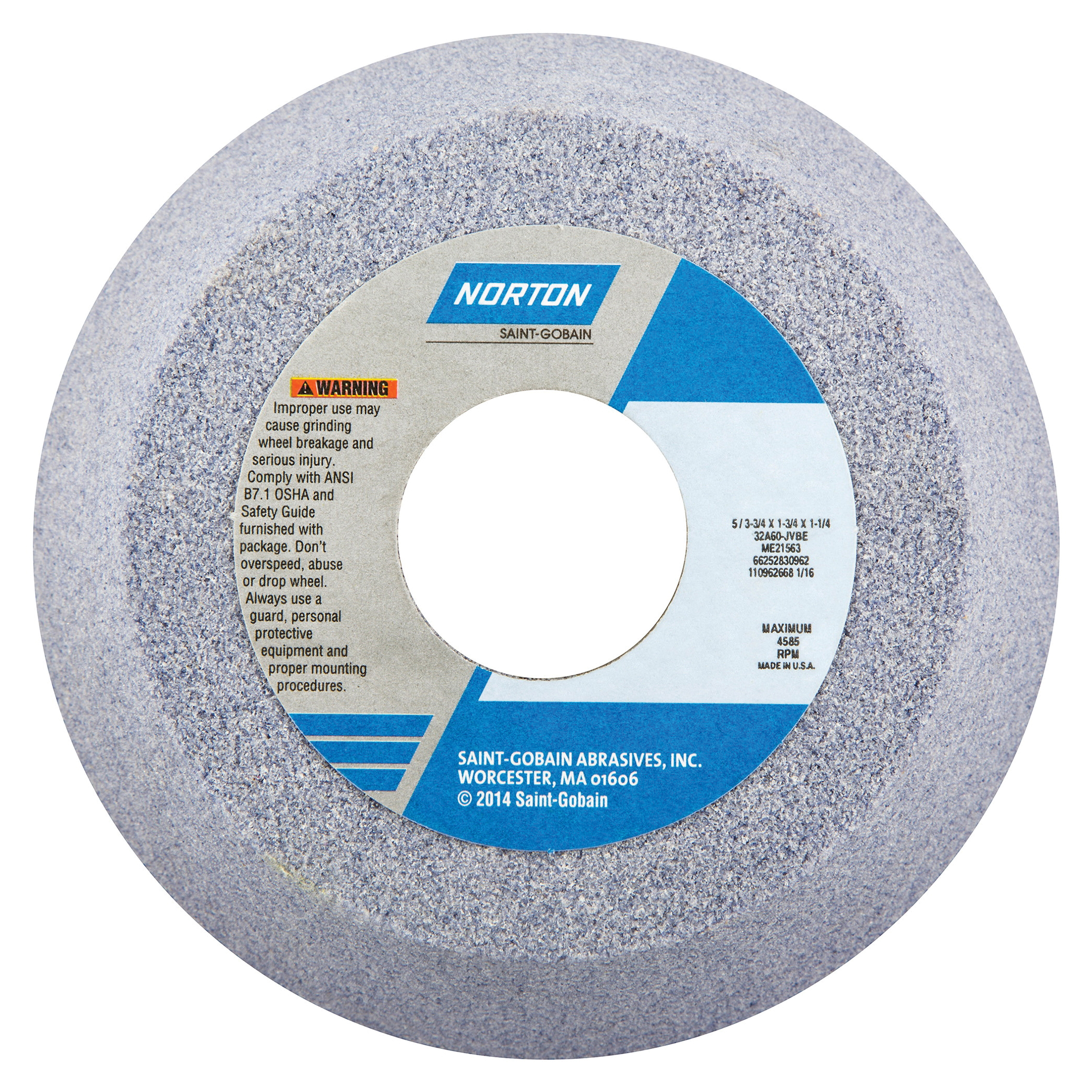 Norton® 66252830858 32A Toolroom Wheel, 5 in Dia x 1-3/4 in THK, 1-1/4 in Center Hole, 46 Grit, Aluminum Oxide Abrasive