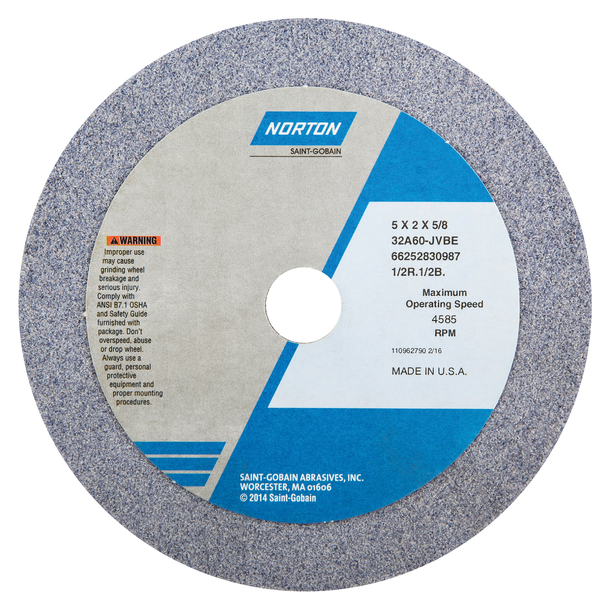 Norton® 66252830987 32A Straight Toolroom Wheel, 5 in Dia x 2 in THK, 5/8 in Center Hole, 60 Grit, Aluminum Oxide Abrasive