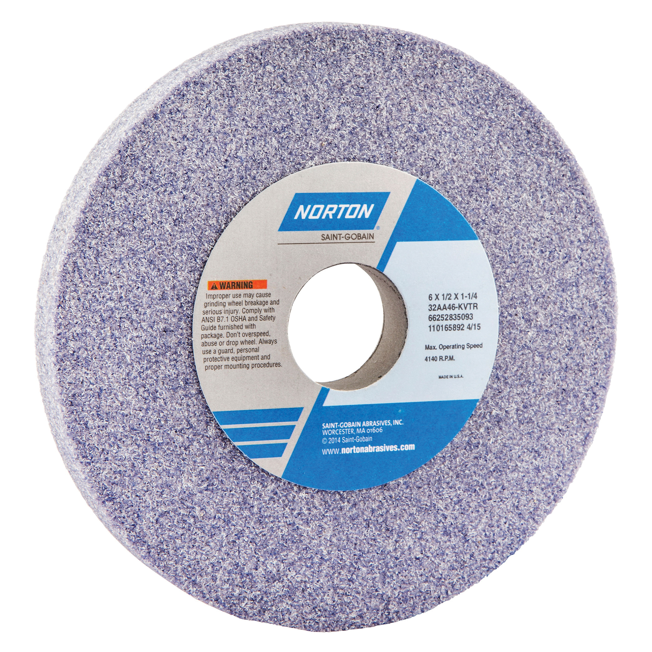 Norton® 66252835093 32AA Straight Toolroom Wheel, 6 in Dia x 1/2 in THK, 1-1/4 in Center Hole, 46 Grit, Aluminum Oxide Abrasive