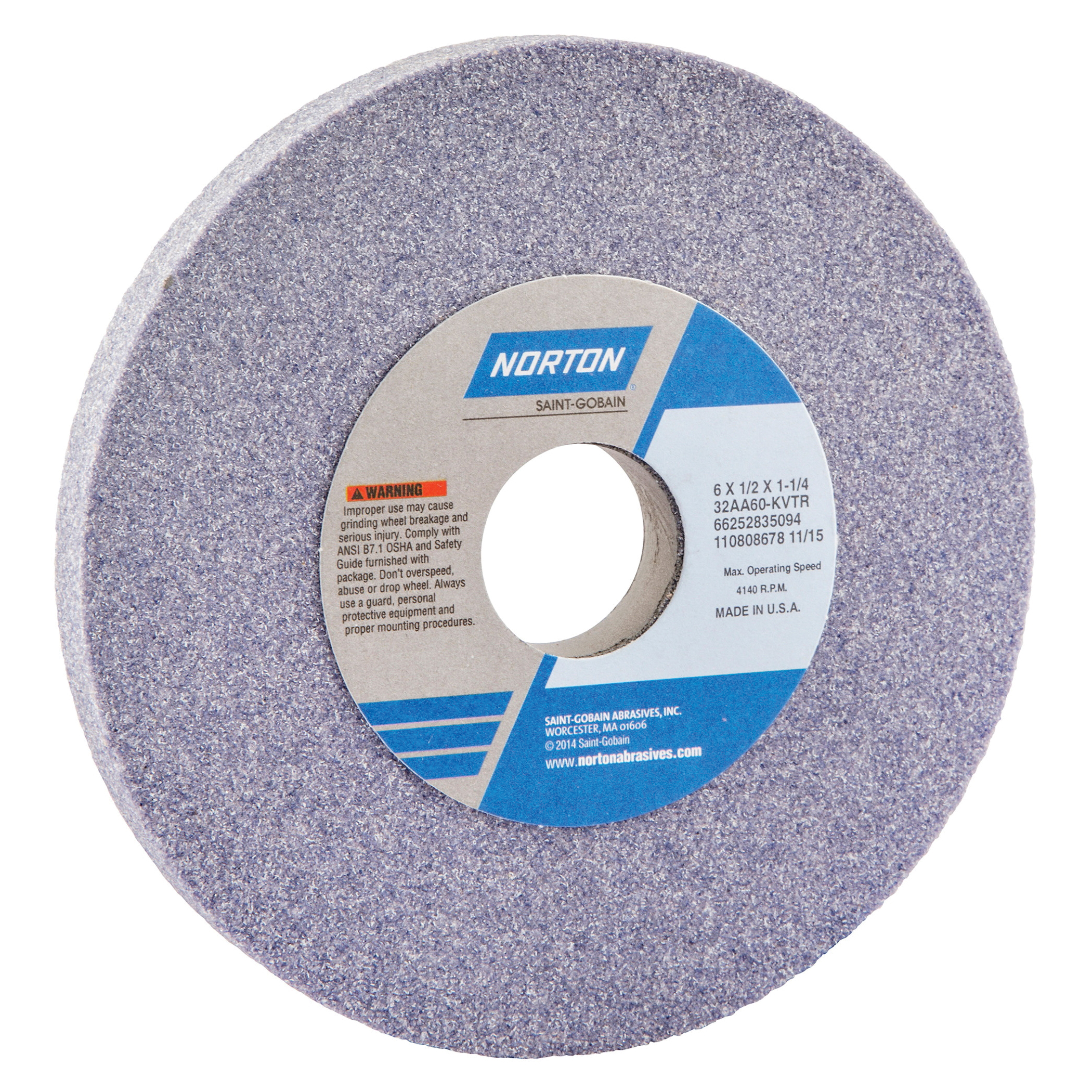 Norton® 66252835094 32AA Straight Toolroom Wheel, 6 in Dia x 1/2 in THK, 1-1/4 in Center Hole, 60 Grit, Aluminum Oxide Abrasive