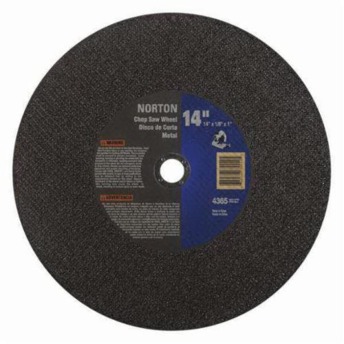 Norton® Metal® 66252835554 Type 1 High Performance Side Reinforced Cut-Off Wheel, 14 in Dia x 3/36 in THK, 1 in Center Hole, 36 Grit, Aluminum Oxide Abrasive