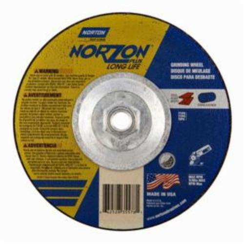 Norton® NorZon® Plus® 66252835578 DC714HNZPLL Type 27 Depressed Center Long Life Cut-Off Wheel With Quick-Change Hub, 7 in Dia x 1/4 in THK, 20 Grit, Ceramic Alumina/Zirconia Alumina Abrasive