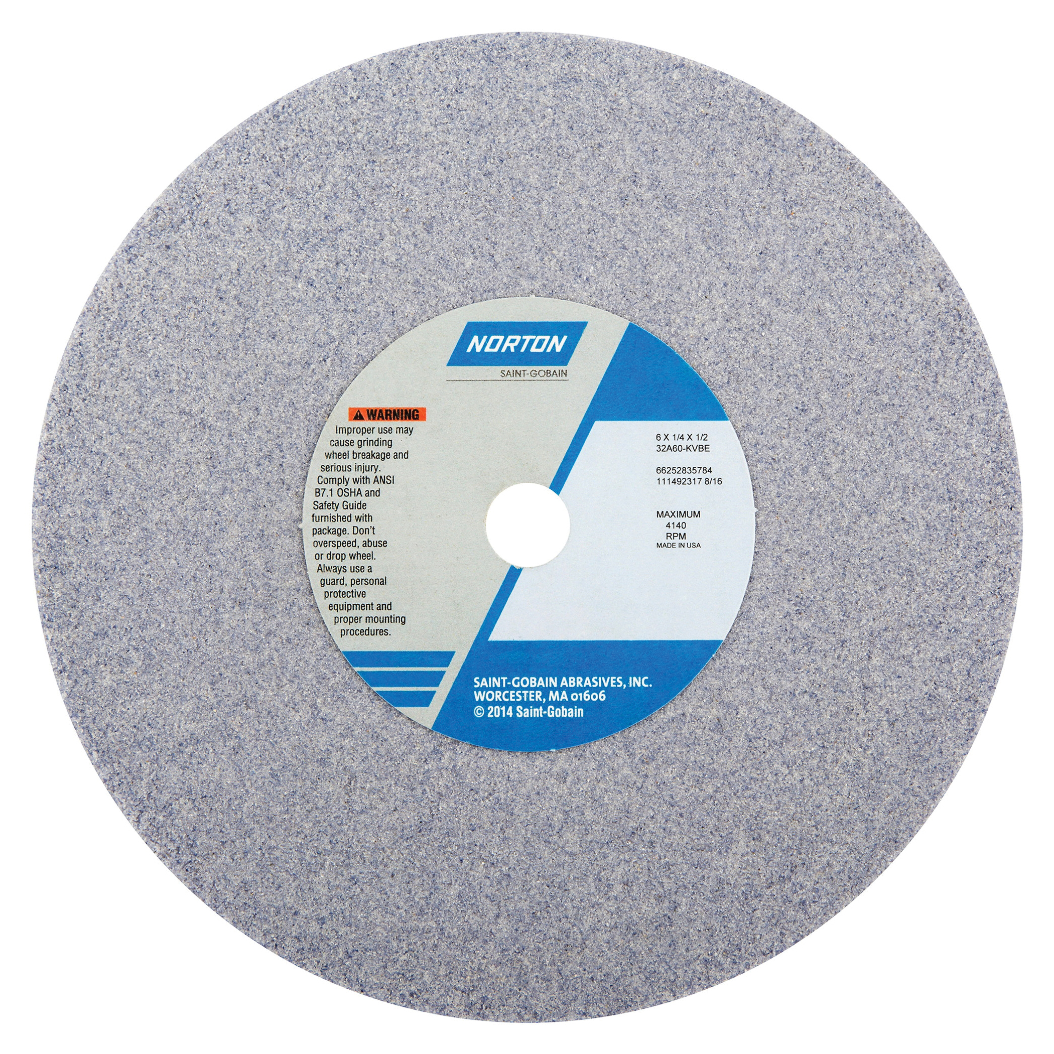 Norton® 66252835784 32A Straight Toolroom Wheel, 6 in Dia x 1/4 in THK, 1/2 in Center Hole, 60 Grit, Aluminum Oxide Abrasive